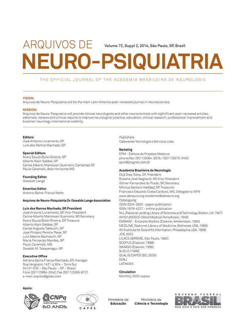 Volume 72, Suppl 2, 2014, São Paulo, SP, Brazil