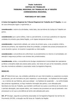 portaria greve prazos processuais - Tribunal Regional do Trabalho