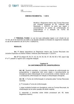 Emenda Regimental 1 - Regimento Interno das Turmas