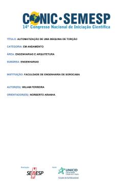 TÍTULO: AUTOMATIZAÇÃO DE UMA MÁQUINA - O Conic