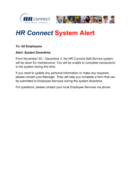 HR Connect System Alert