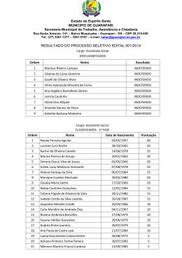 EDITAL SETAC 001/2014 - PROCESSO SELETIVO SIMPLIFICADO