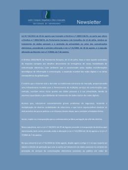 Lei N.º 46/2012 de 29 de agosto que transpõe a Diretiva n.º