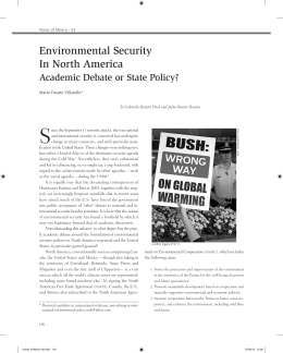 Environmental Security In North America - Revistas