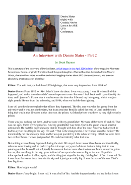 An Interview with Denise Slater - Part 2