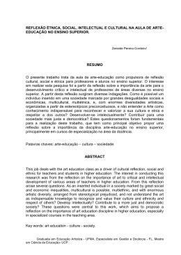 R. SOCIAL, INTELECTUAL E CULTURAL NA AULA DE ARTE-EDUCAÇÃO NO ENSINO SUPERIOR.