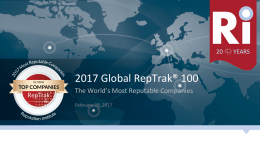 2017 Global RepTrak Most Reputable Companies in the World