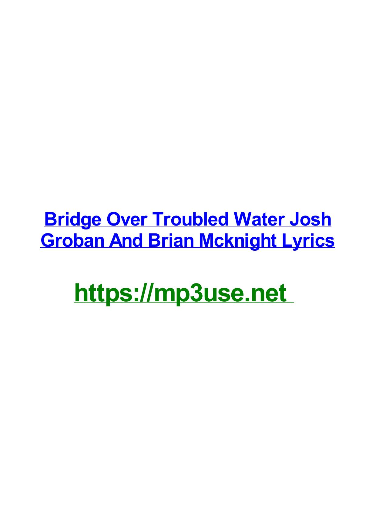 Lyrics Bridge Over Troubled Water