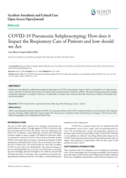 COVID-19 Pneumonia Subphenotyping: How does it Impact the Respiratory Care of Patients and how should we Act